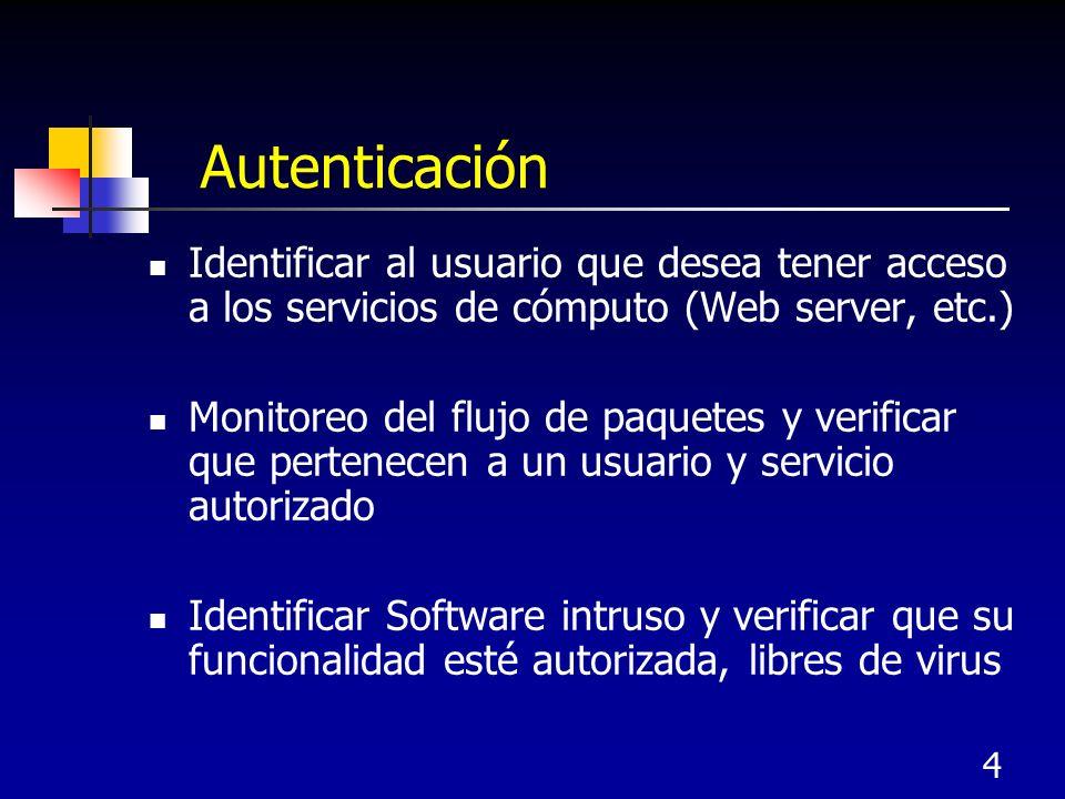 4 Autenticación Identificar al usuario que desea tener acceso a los servicios de cómputo (Web server, etc.) Monitoreo del flujo de paquetes y verifica