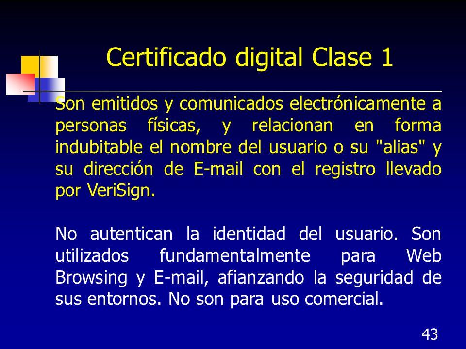 43 Certificado digital Clase 1 Son emitidos y comunicados electrónicamente a personas físicas, y relacionan en forma indubitable el nombre del usuario