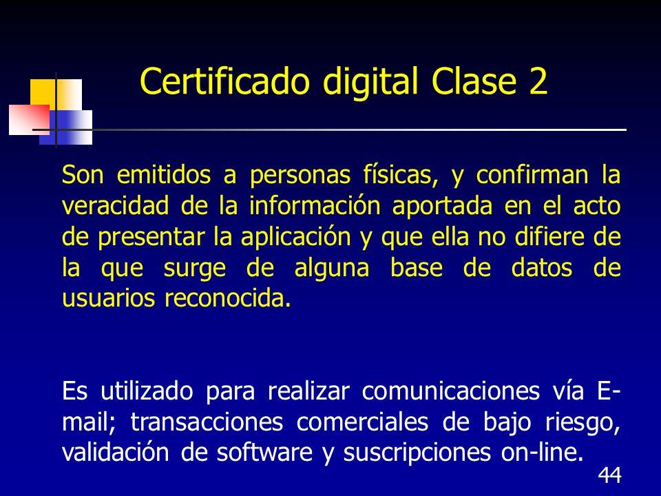 44 Certificado digital Clase 2 Son emitidos a personas físicas, y confirman la veracidad de la información aportada en el acto de presentar la aplicac