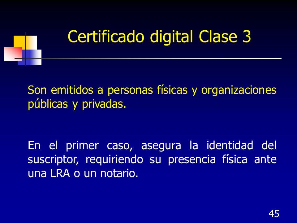 45 Certificado digital Clase 3 Son emitidos a personas físicas y organizaciones públicas y privadas. En el primer caso, asegura la identidad del suscr
