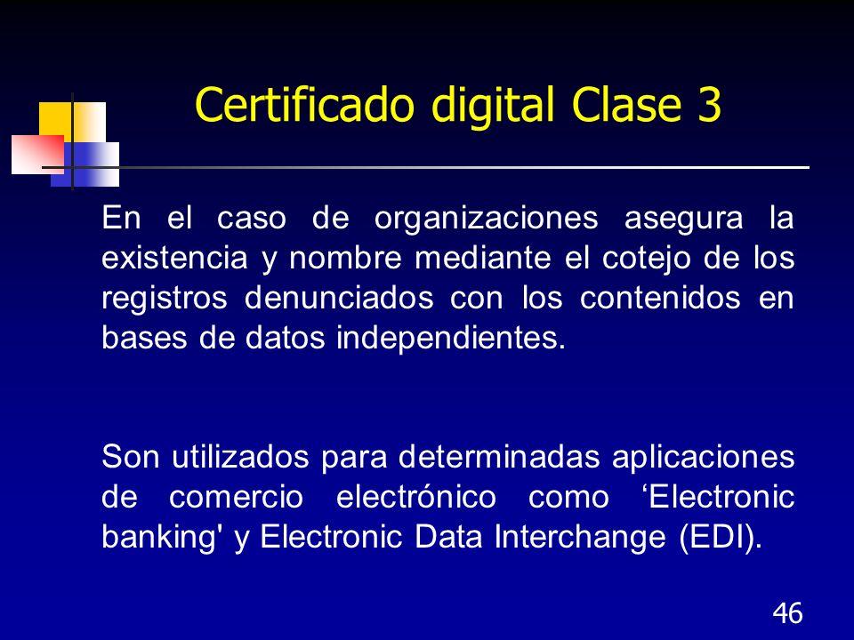 46 Certificado digital Clase 3 En el caso de organizaciones asegura la existencia y nombre mediante el cotejo de los registros denunciados con los con
