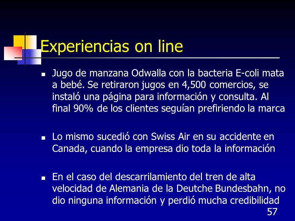 57 Experiencias on line Jugo de manzana Odwalla con la bacteria E-coli mata a bebé. Se retiraron jugos en 4,500 comercios, se instaló una página para