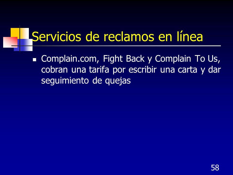 58 Servicios de reclamos en línea Complain.com, Fight Back y Complain To Us, cobran una tarifa por escribir una carta y dar seguimiento de quejas