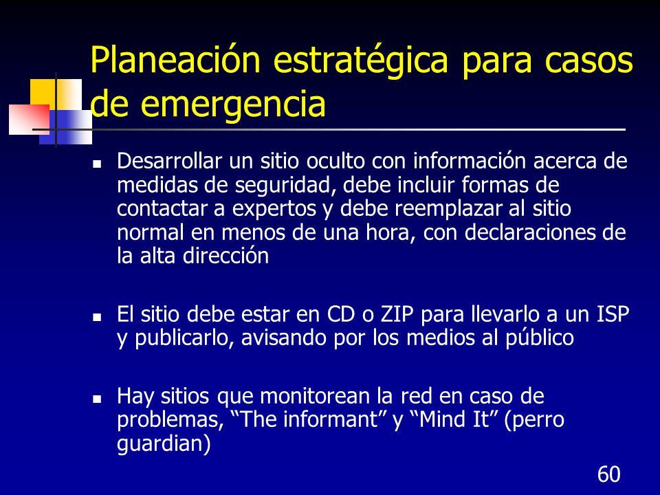 60 Planeación estratégica para casos de emergencia Desarrollar un sitio oculto con información acerca de medidas de seguridad, debe incluir formas de