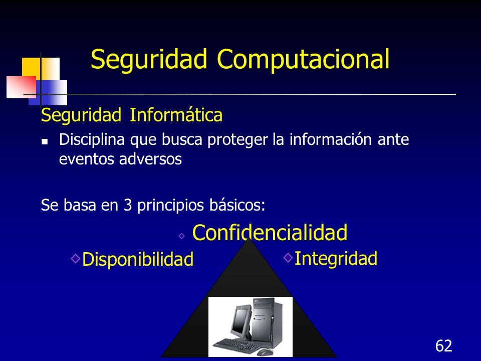 62 Seguridad Computacional Seguridad Informática Disciplina que busca proteger la información ante eventos adversos Se basa en 3 principios básicos: C