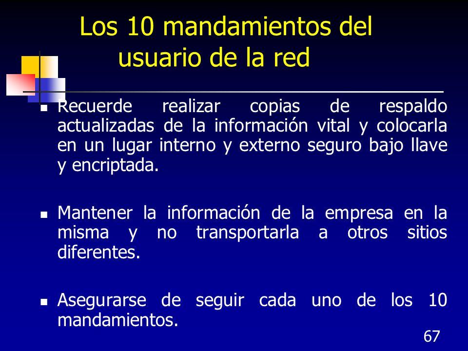 67 Los 10 mandamientos del usuario de la red Recuerde realizar copias de respaldo actualizadas de la información vital y colocarla en un lugar interno
