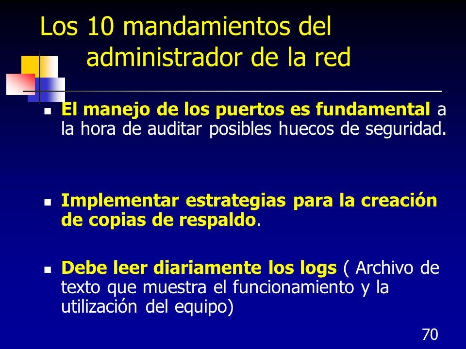 70 Los 10 mandamientos del administrador de la red El manejo de los puertos es fundamental a la hora de auditar posibles huecos de seguridad. Implemen