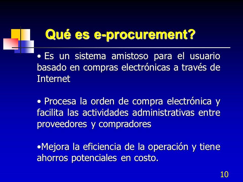 10 Qué es e-procurement? Es un sistema amistoso para el usuario basado en compras electrónicas a través de Internet Es un sistema amistoso para el usu