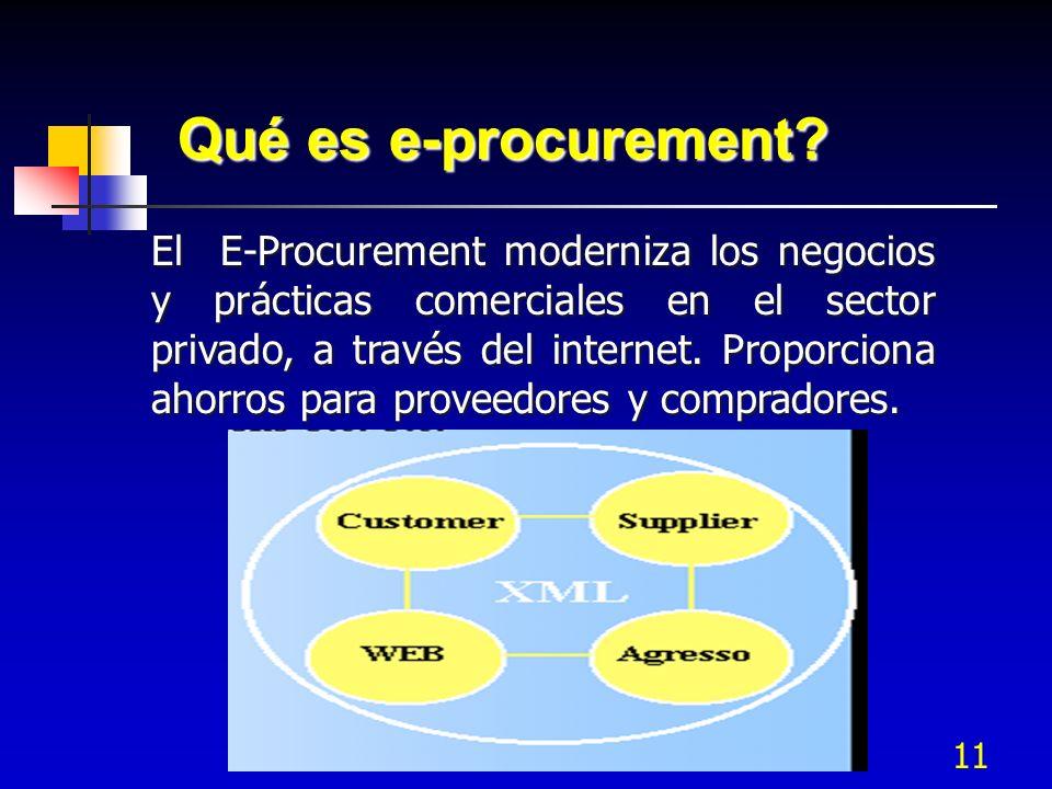 11 Qué es e-procurement? El E-Procurement moderniza los negocios y prácticas comerciales en el sector privado, a través del internet. Proporciona ahor