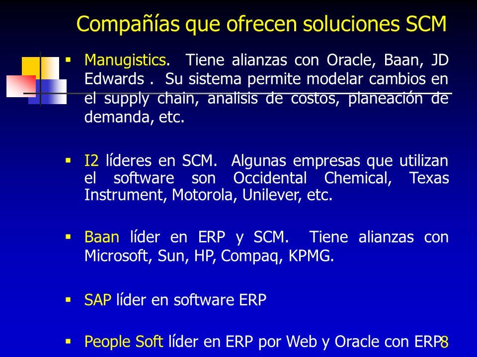 8 Manugistics. Tiene alianzas con Oracle, Baan, JD Edwards. Su sistema permite modelar cambios en el supply chain, analisis de costos, planeación de d