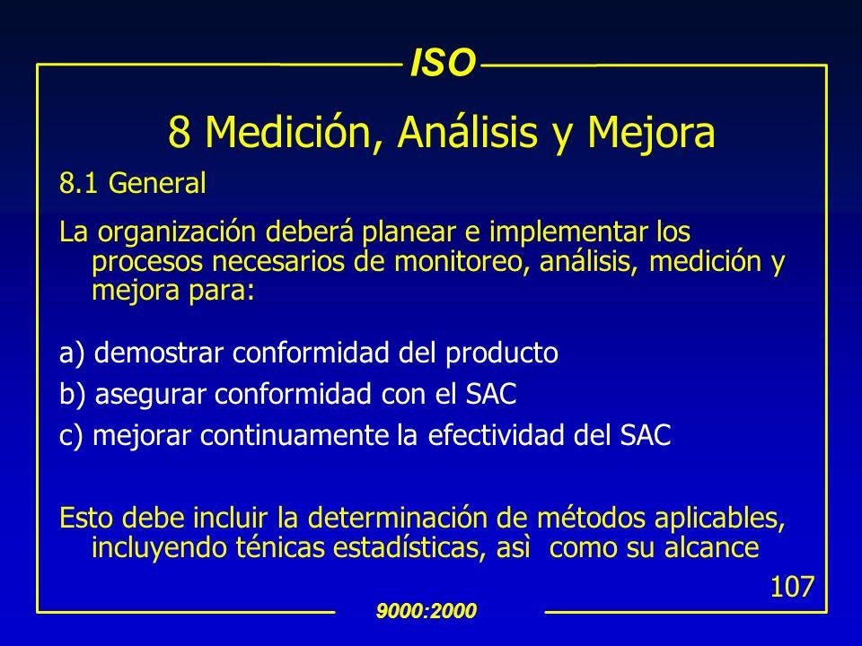 ISO 9000:2000 106 7.6 Control de Equipo de Medición y Monitoreo (Cont…) uSe debe evaluar y registrar la validación de resultados de mediciones previas