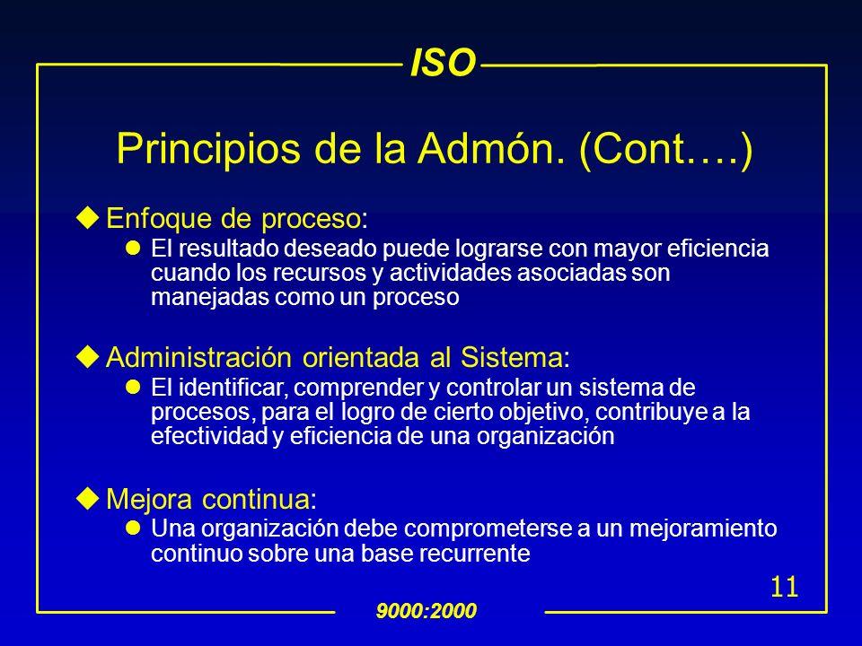 ISO 9000:2000 10 Los 8 Principios de la Admón. de la Calidad uOrganización enfocada al cliente: Las Organizaciones dependen de sus clientes, deben ent