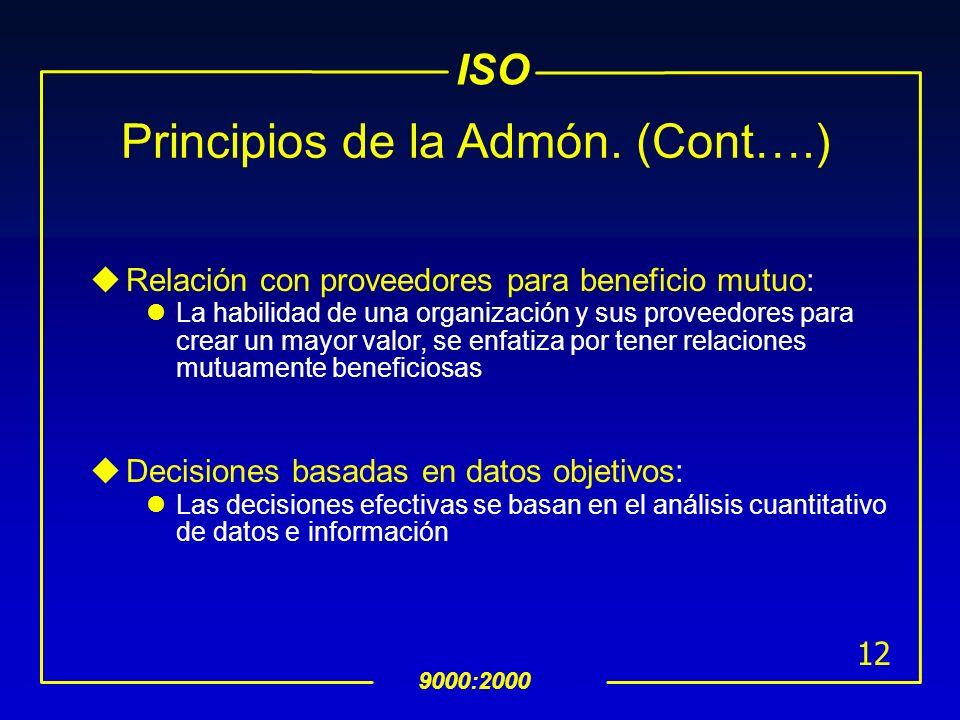 ISO 9000:2000 11 Principios de la Admón. (Cont….) uEnfoque de proceso: El resultado deseado puede lograrse con mayor eficiencia cuando los recursos y