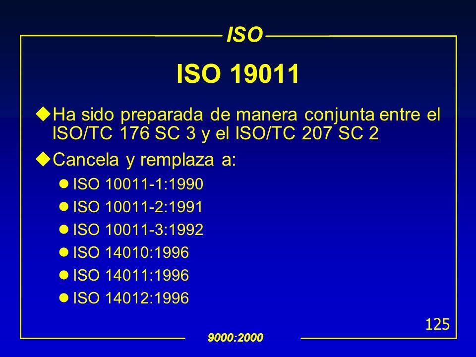 ISO 9000:2000 124 La Norma ISO 19011 para auditorias