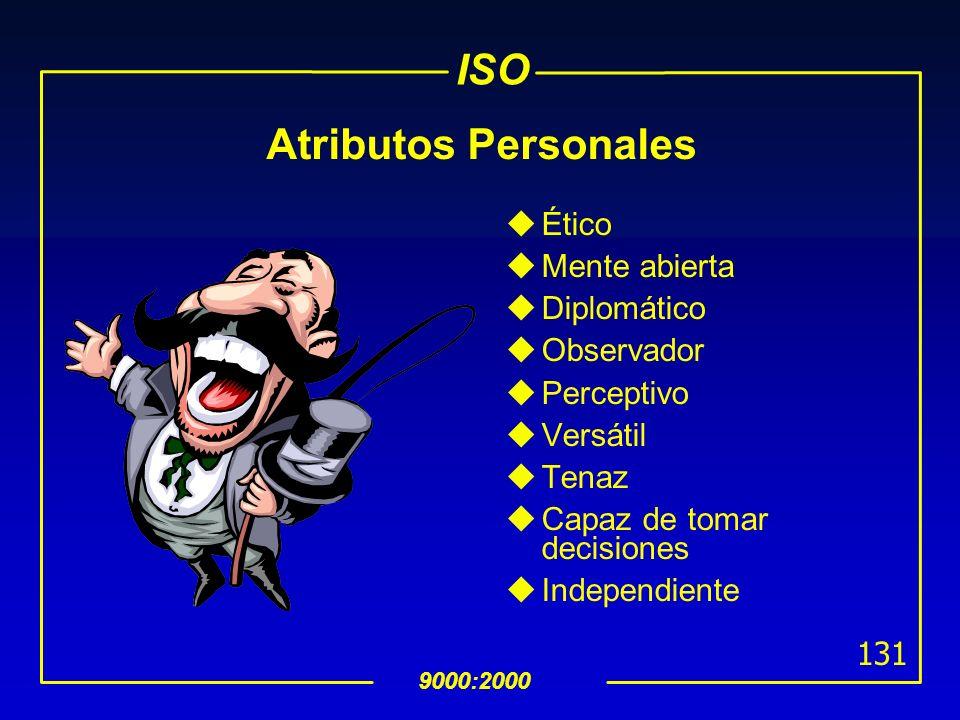ISO 9000:2000 130 Competencia y Evaluación de Auditores Calidad Ambiente Conocimientos y habilidades en calidad Conocimientos y habilidades en medio a