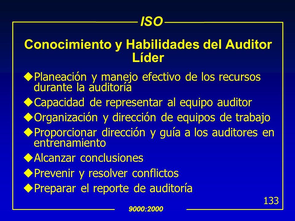 ISO 9000:2000 132 Conocimiento y Habilidades de los Auditores uTécnicas, procedimientos y principios de auditoría uSistemas de gestión y documentos de