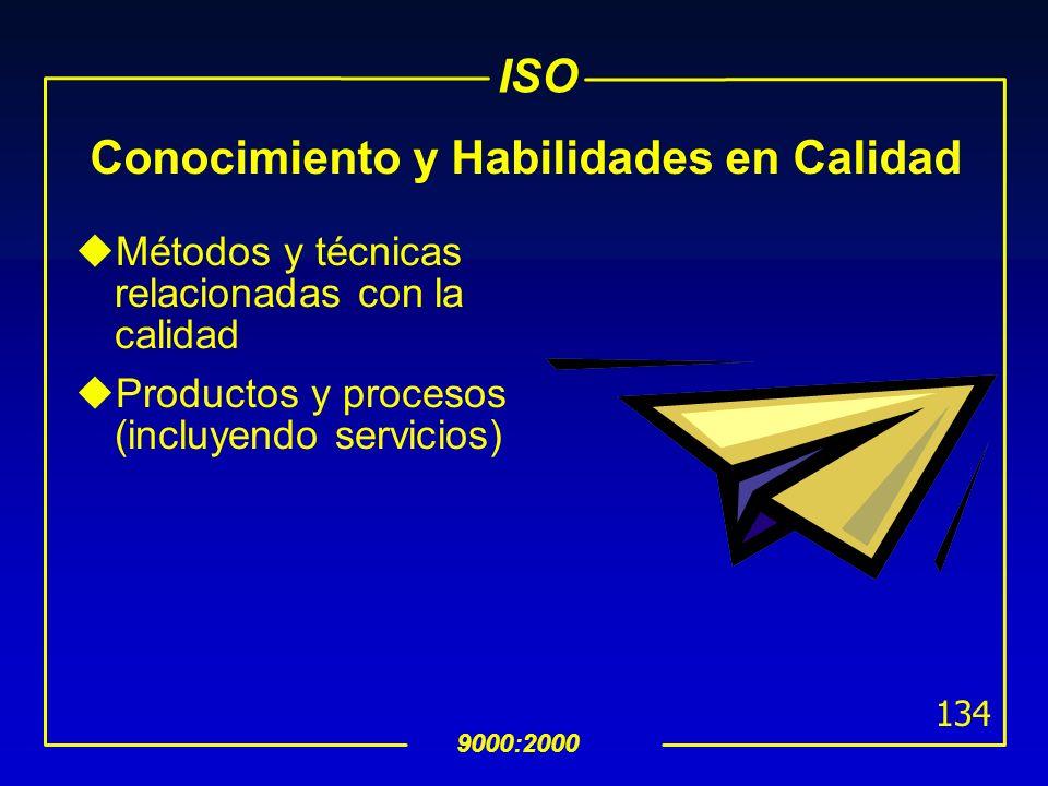 ISO 9000:2000 133 Conocimiento y Habilidades del Auditor Líder uPlaneación y manejo efectivo de los recursos durante la auditoría uCapacidad de repres