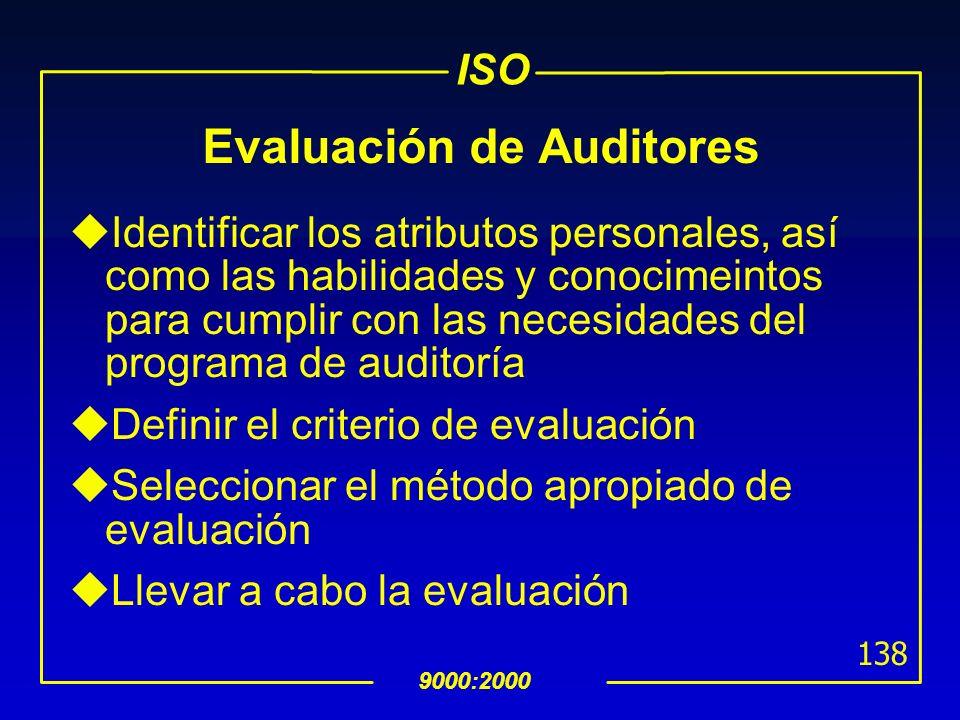 ISO 9000:2000 137 Mantenimiento y Mejora de la Competencia uDesarrollo profesional continuo Esperiencia profesional, entrenamiento, estudios personale