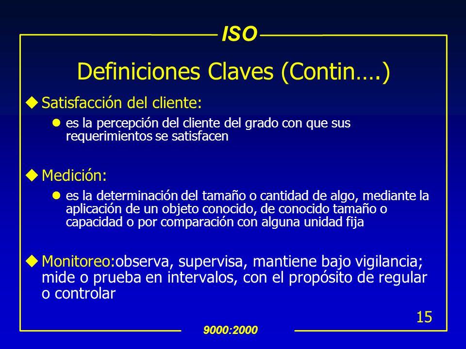 ISO 9000:2000 14 Definiciones Claves (Contin….) uAlta Dirección: persona o grupo de gentes, del más alto nivel, que dirigen y controlan una organizaci