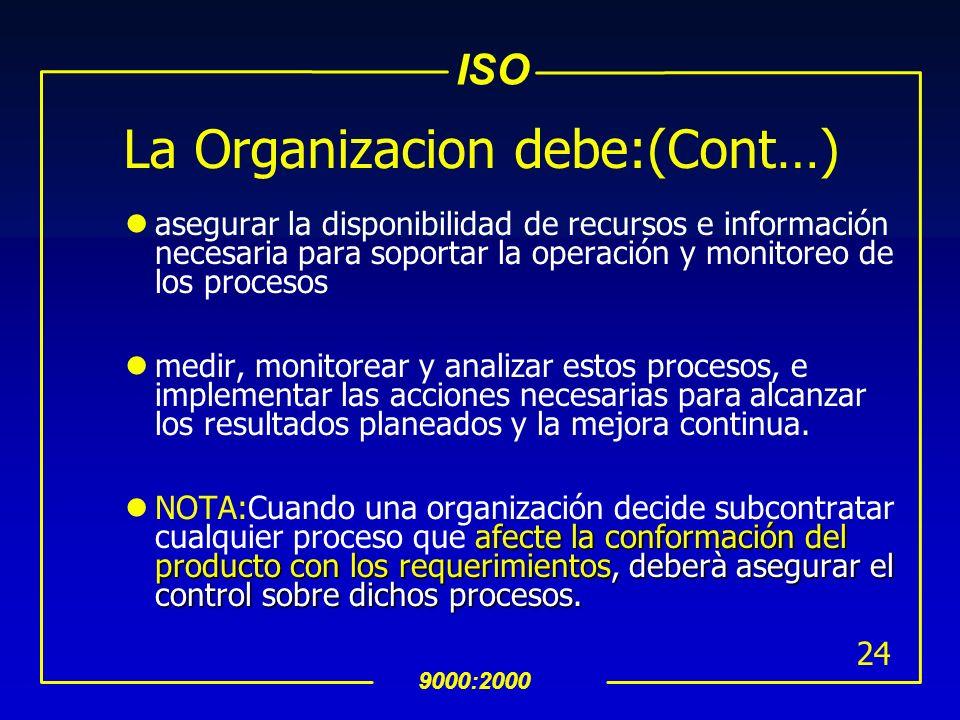 ISO 9000:2000 23 La Organizacion debe: identificar los procesos necesarios para el SAC y su aplicación en toda la organización, determinar la secuenci