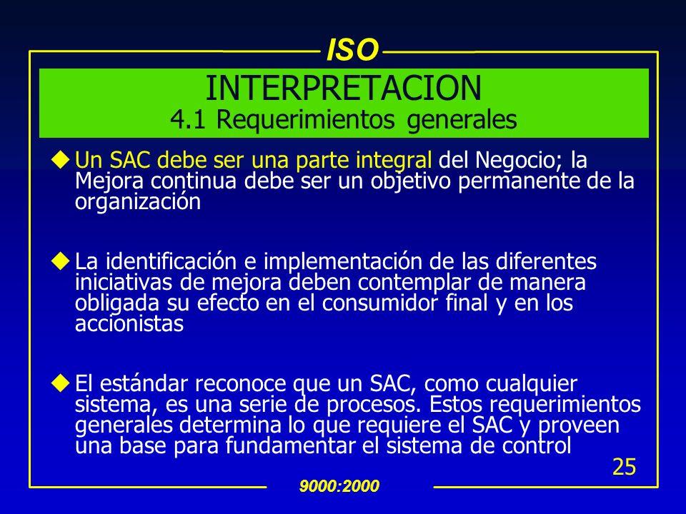 ISO 9000:2000 24 La Organizacion debe:(Cont…) asegurar la disponibilidad de recursos e información necesaria para soportar la operación y monitoreo de