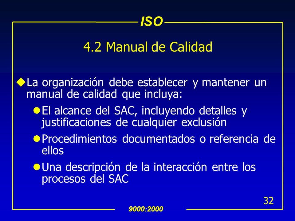 ISO 9000:2000 31 INTERPRETACION 4.2 Requerimientos Generales de Documentación 4.2.1 General (Cont…) uTipos de documentos que pueden ser utilizados en
