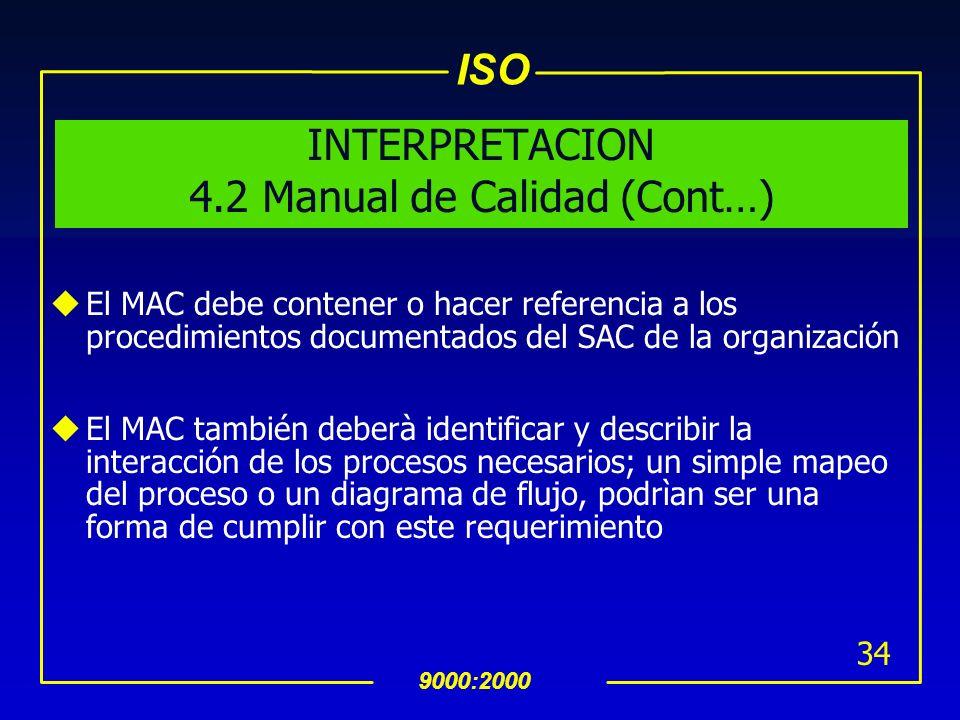 ISO 9000:2000 33 INTERPRETACION 4.2 Manual de Calidad uDebe visualizar el SAC, especificando que productos, que servicios ofrece, que segmentos de mer