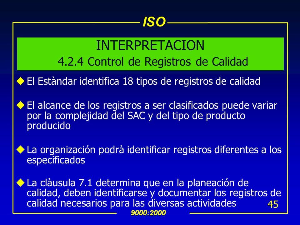 ISO 9000:2000 44 uSe debe establecer un procedimiento documentados para : su identificación su almacenamiento, recuperación su protección determinar e