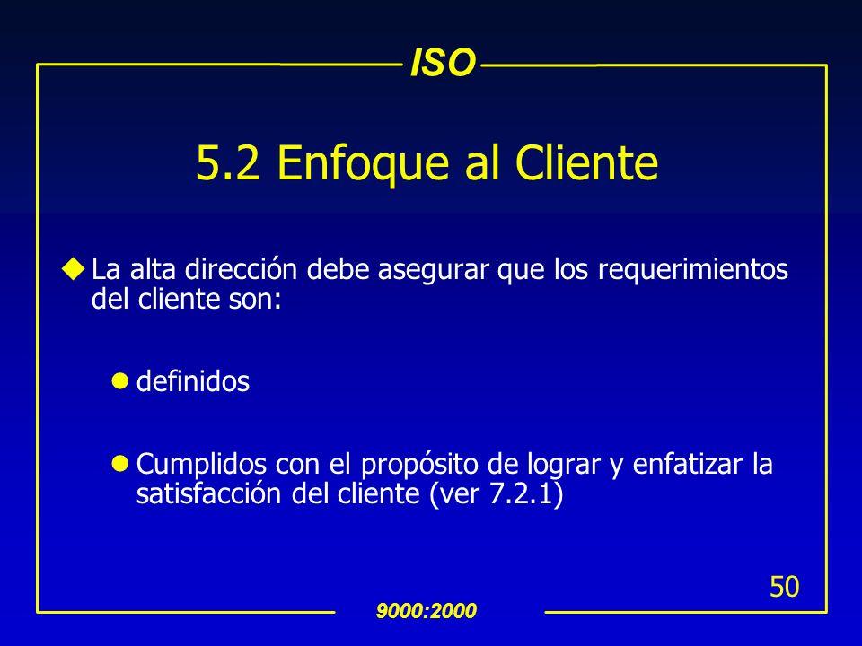 ISO 9000:2000 49 INTERPRETACION 5 Responsabilidad de la Dirección 5.1Compromiso de la Direccion uLa dirección tiene la responsabilidad de proporcionar