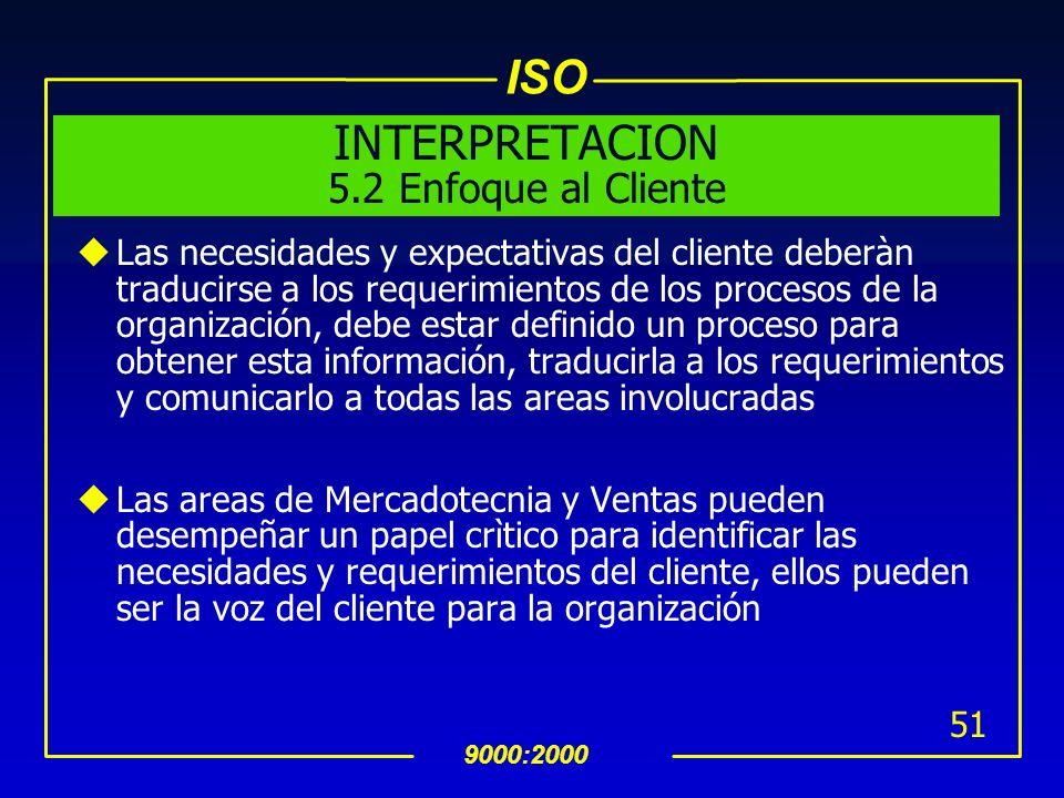 ISO 9000:2000 50 5.2 Enfoque al Cliente uLa alta dirección debe asegurar que los requerimientos del cliente son: definidos Cumplidos con el propósito