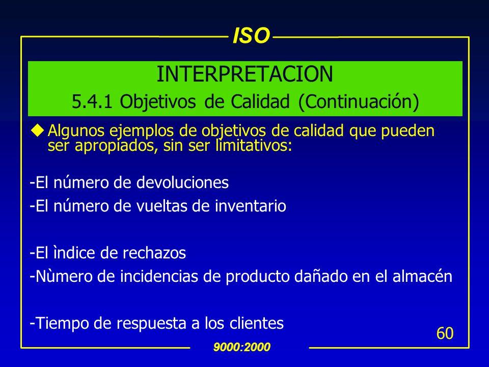 ISO 9000:2000 59 INTERPRETACION 5.4.1 Objetivos de Calidad (Continuación) uEl logro de los objetivos de calidad puede tener un impacto positivo en la