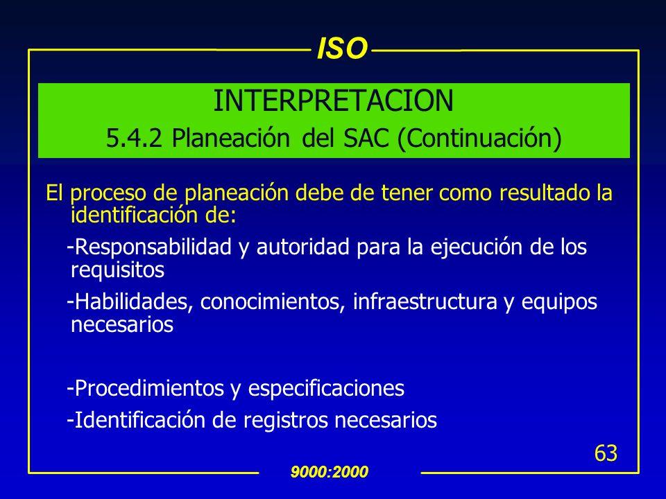 ISO 9000:2000 62 INTERPRETACION 5.4.2 Planeación del SAC En la planeación se establece como obtener un producto, como se cumple con los requisitos de