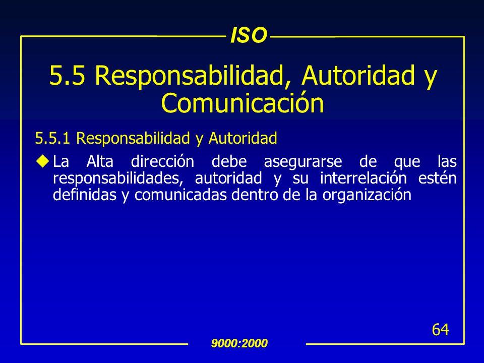 ISO 9000:2000 63 INTERPRETACION 5.4.2 Planeación del SAC (Continuación) El proceso de planeación debe de tener como resultado la identificación de: -R