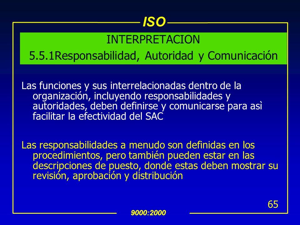 ISO 9000:2000 64 5.5 Responsabilidad, Autoridad y Comunicación 5.5.1 Responsabilidad y Autoridad uLa Alta dirección debe asegurarse de que las respons