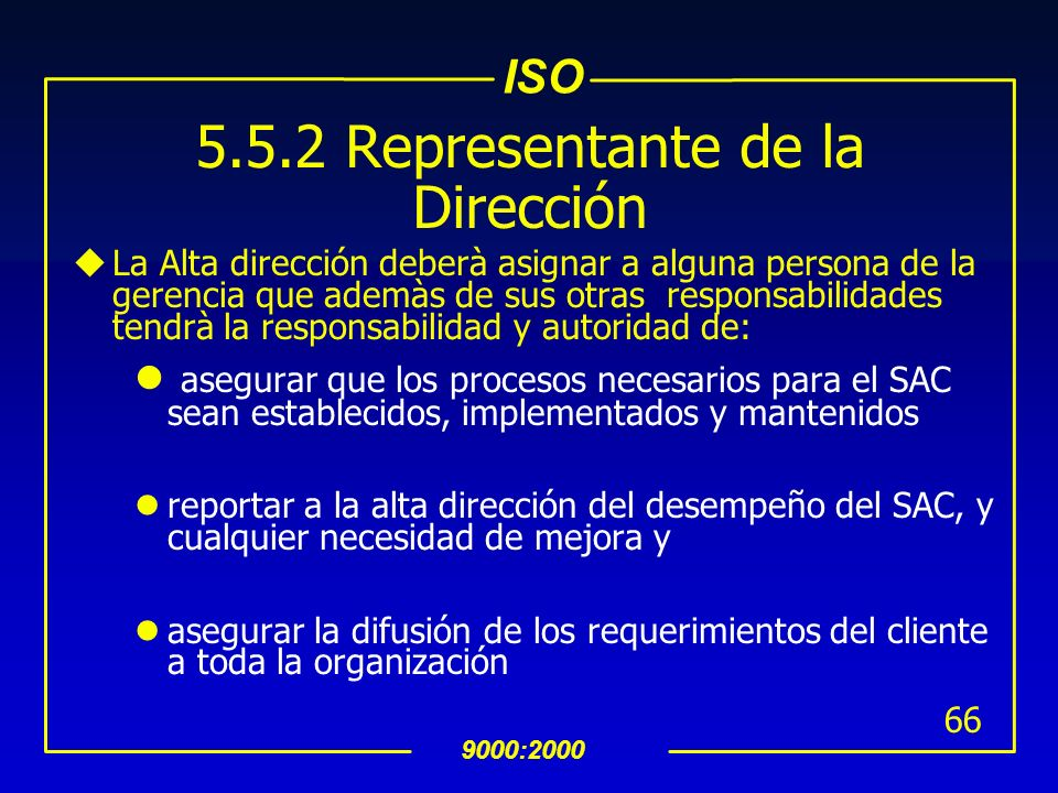 ISO 9000:2000 65 INTERPRETACION 5.5.1Responsabilidad, Autoridad y Comunicación Las funciones y sus interrelacionadas dentro de la organización, incluy