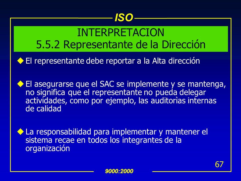 ISO 9000:2000 66 5.5.2 Representante de la Dirección uLa Alta dirección deberà asignar a alguna persona de la gerencia que ademàs de sus otras respons