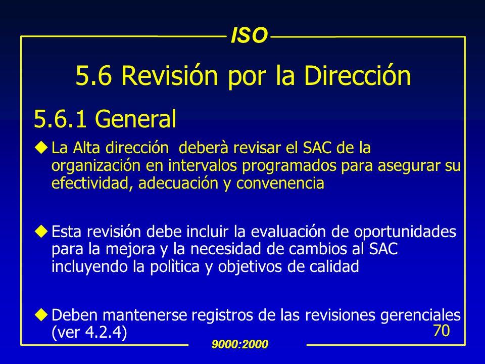 ISO 9000:2000 69 INTERPRETACION 5.5.3 Comunicación Interna u La gerencia debe definir e implementar un proceso efectivo y eficiente para contar con un