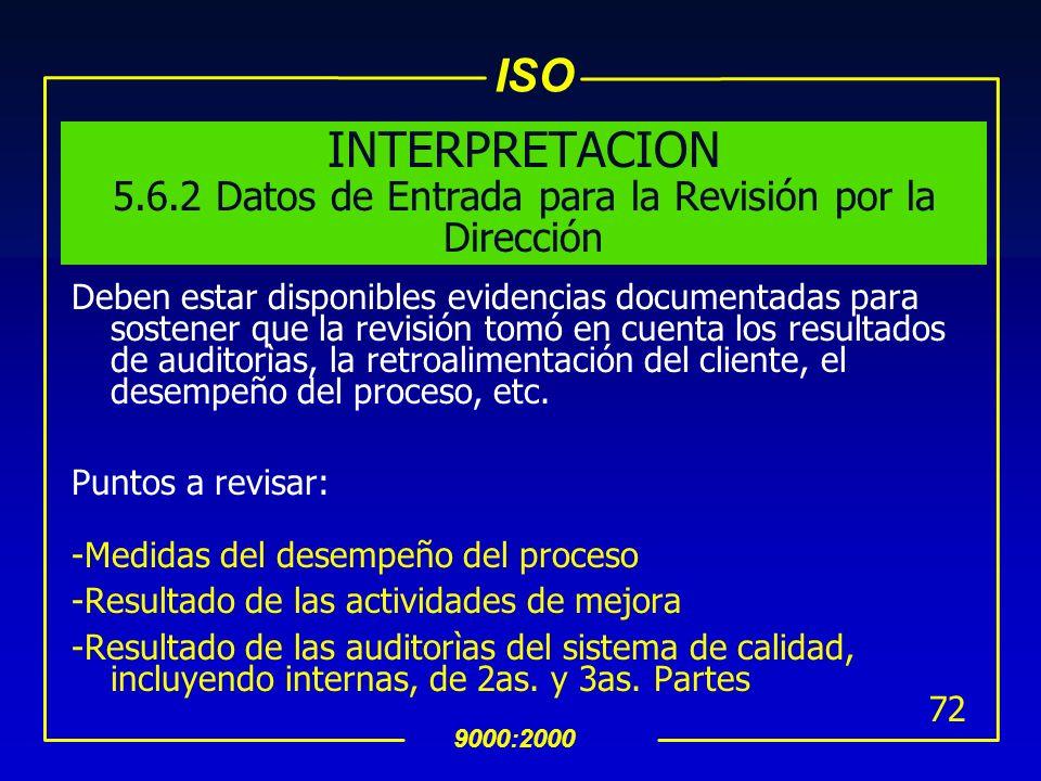 ISO 9000:2000 71 INTERPRETACION 5.6.1 General La Alta dirección deberà conducirse tales revisiones con la frecuencia establecida, evaluando si se està