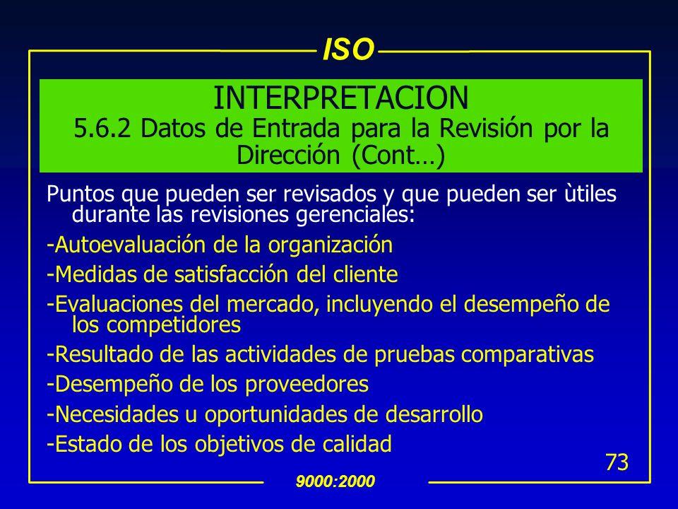 ISO 9000:2000 72 INTERPRETACION 5.6.2 Datos de Entrada para la Revisión por la Dirección Deben estar disponibles evidencias documentadas para sostener