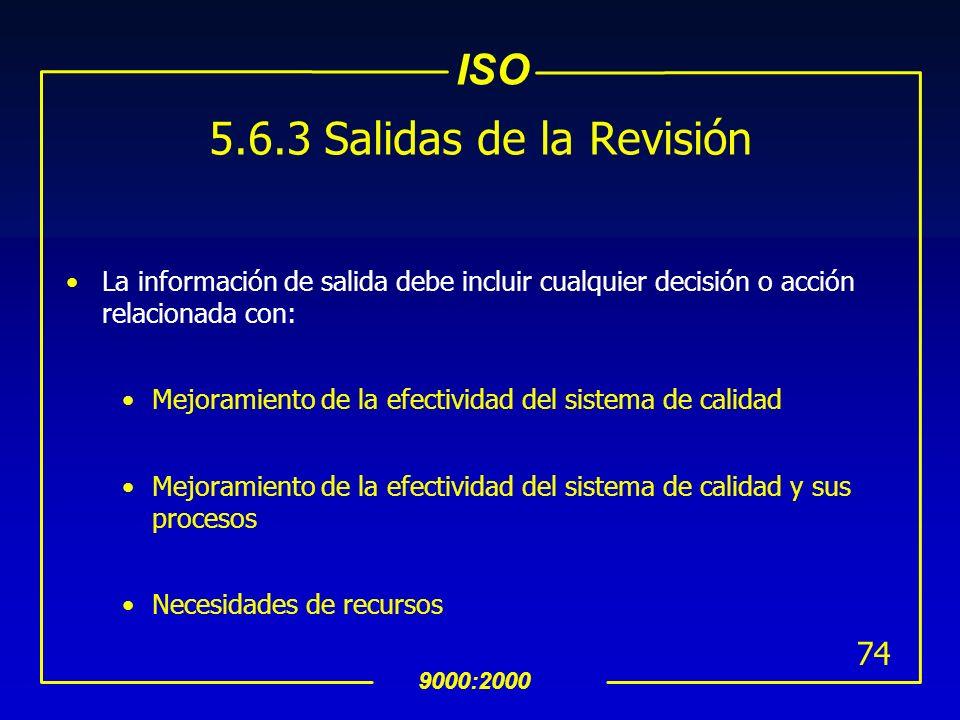 ISO 9000:2000 73 INTERPRETACION 5.6.2 Datos de Entrada para la Revisión por la Dirección (Cont…) Puntos que pueden ser revisados y que pueden ser ùtil