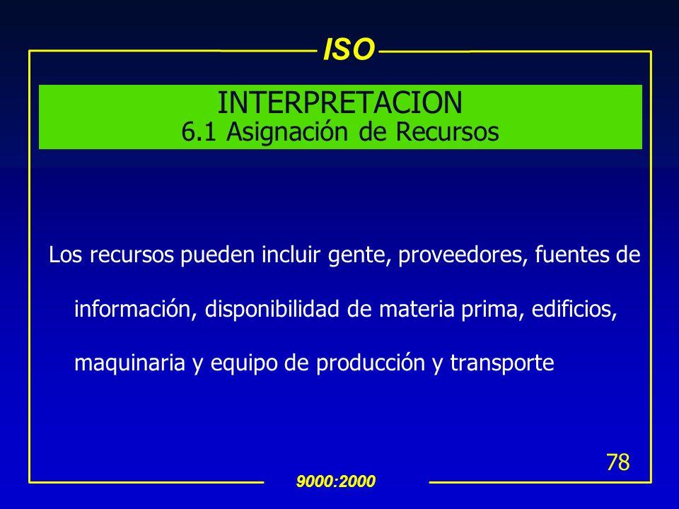 ISO 9000:2000 77 6 Administración de Recursos 6.1 Asignación de Recursos uLa organización debe determinar y proveer los recursos necesarios para: impl