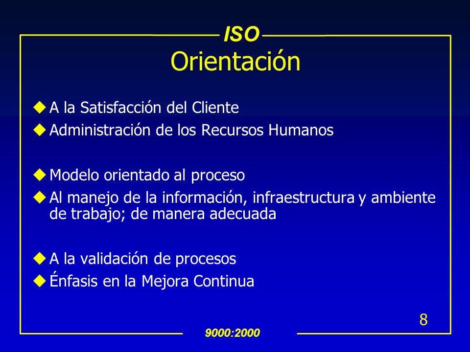 ISO 9000:2000 8 Orientación uA la Satisfacción del Cliente uAdministración de los Recursos Humanos uModelo orientado al proceso uAl manejo de la información, infraestructura y ambiente de trabajo; de manera adecuada uA la validación de procesos uÉnfasis en la Mejora Continua
