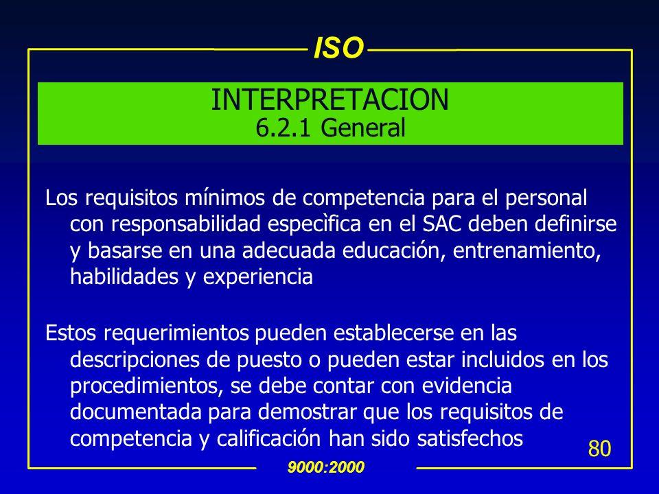 ISO 9000:2000 79 6.2 Recursos Humanos 6.2.1 General uEl Personal que desempeña un trabajo que afecta la calidad del producto debe ser competente en ba