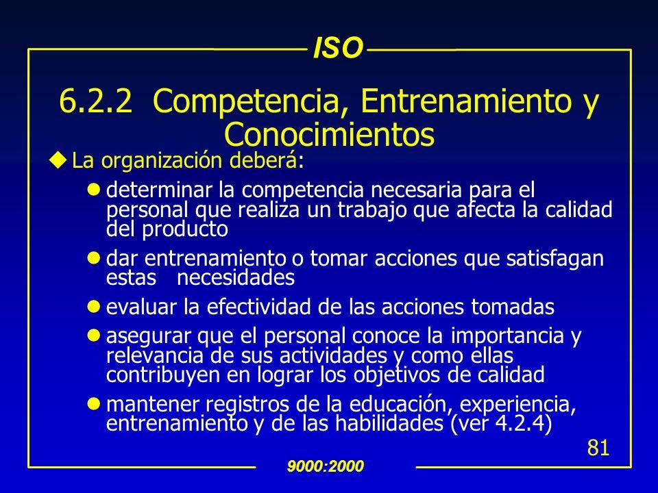 ISO 9000:2000 80 INTERPRETACION 6.2.1 General Los requisitos mínimos de competencia para el personal con responsabilidad especìfica en el SAC deben de