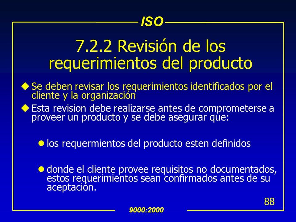ISO 9000:2000 87 7.2 Procesos Relacionados al Cliente 7.2.1 Determinación de Requerimientos Relacionados con el Producto uSe deben definir los requeri