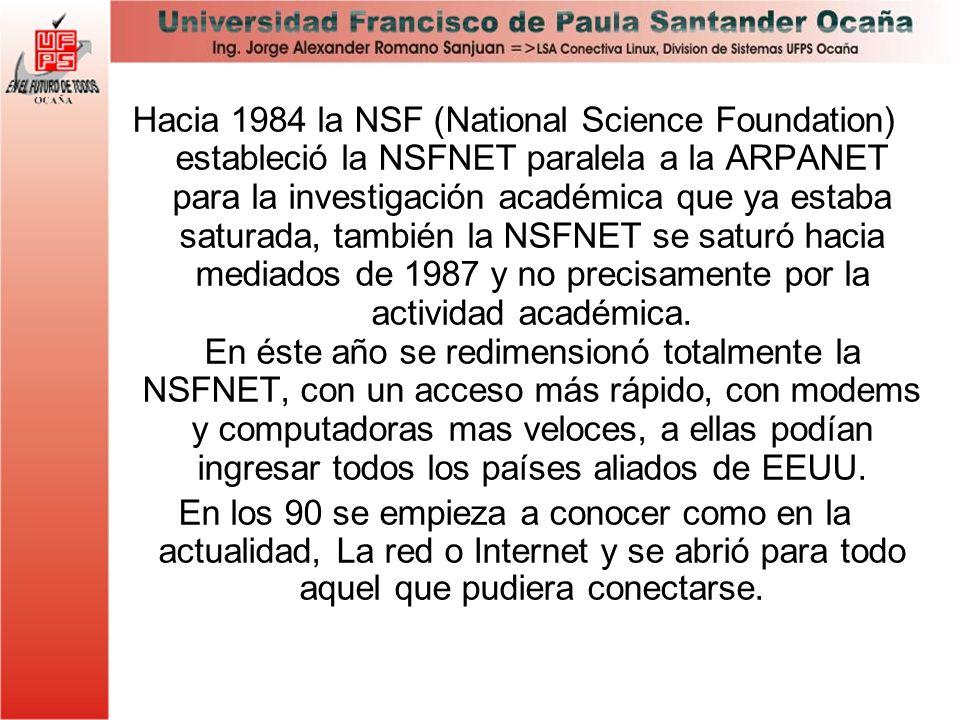 Hacia 1984 la NSF (National Science Foundation) estableció la NSFNET paralela a la ARPANET para la investigación académica que ya estaba saturada, tam