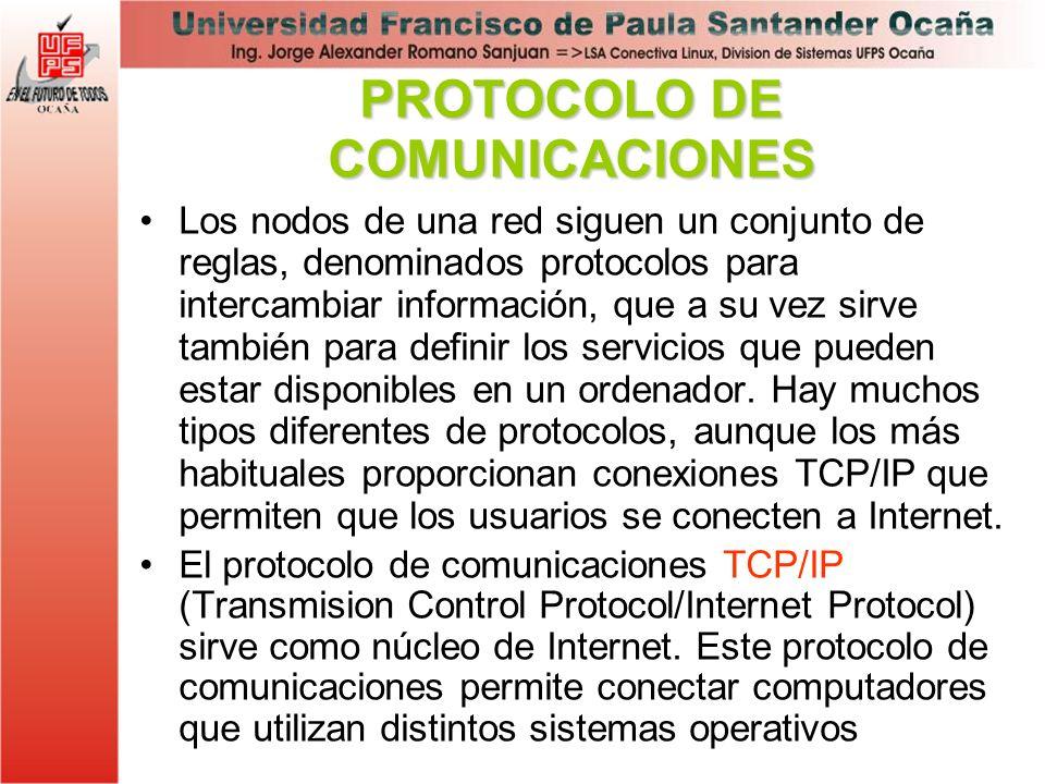 Los nodos de una red siguen un conjunto de reglas, denominados protocolos para intercambiar información, que a su vez sirve también para definir los s