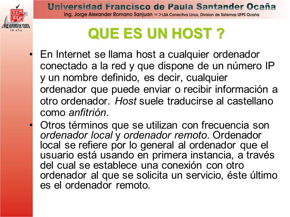 En Internet se llama host a cualquier ordenador conectado a la red y que dispone de un número IP y un nombre definido, es decir, cualquier ordenador q