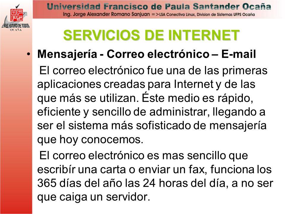 Mensajería - Correo electrónico – E-mail El correo electrónico fue una de las primeras aplicaciones creadas para Internet y de las que más se utilizan