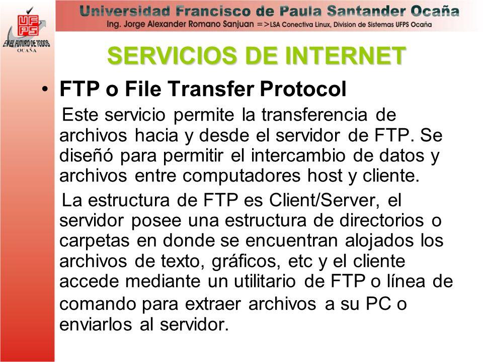 FTP o File Transfer Protocol Este servicio permite la transferencia de archivos hacia y desde el servidor de FTP. Se diseñó para permitir el intercamb